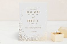 """""""Bubbly"""" - Elegant, Formal Foil-pressed Wedding Invitation Petite Cards in Blush by Lori Wemple."""