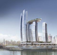 Chongqing Chaotiamen Skyscrapers by Safdie Architects, Chongqing, China