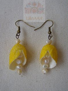 Yellow earrings of natural mulberry silk cocoons and pearls by LanAArt