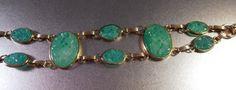 Art Deco Peking Glass Bracelet Carved Pierced by LynnHislopJewels