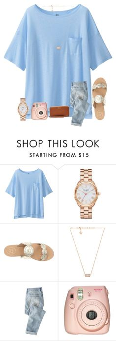 """""""Blue"""" by mmprep ❤ liked on Polyvore featuring Uniqlo, Kate Spade, Jack Rogers, Kendra Scott, Wrap, Fujifilm and Relic"""