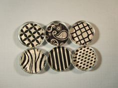 Refrigerator Magnets - Set of 6 Glass Fridge Magnets, Black and White Patterns with Storage Tin by DLRjewelry on Etsy https://www.etsy.com/listing/58983334/refrigerator-magnets-set-of-6-glass