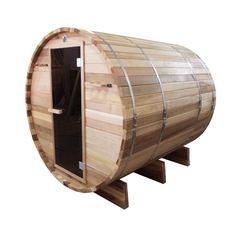 Aleko Outdoor and Indoor Rustic Western Red Cedar Barrel Sauna - ETL Certified Heater - 4 Person, Multicolor Sauna Heater, Dry Sauna, Indoor Sauna, Indoor Outdoor, Barrel Sauna, Traditional Saunas, Wooden Cradle, Sauna Room