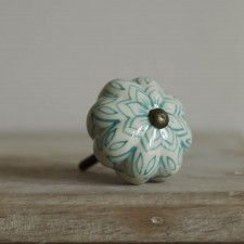 Turquoise Painted Flower Knob