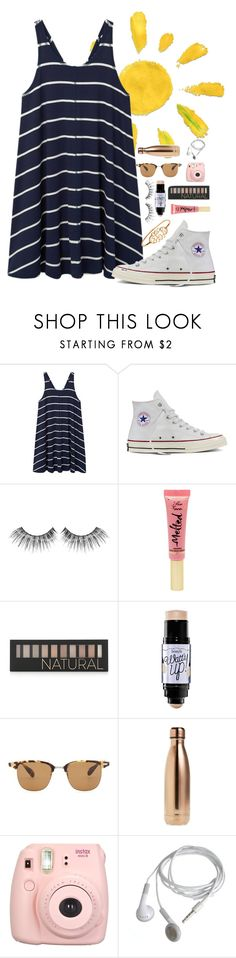 """""""About to leave the lake house⛵️"""" by mmprep ❤ liked on Polyvore featuring MANGO, Converse, MAKE UP FOR EVER, Too Faced Cosmetics, Forever 21, Benefit, Oliver Peoples, S'well and Fujifilm"""