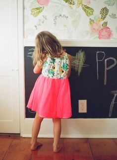 Chalkboard paint on lower wall, underneath chair rail. House of Turquoise: Sarah Crawford Casa Disney, Room Inspiration, Wedding Inspiration, Loft Studio, House Of Turquoise, How To Have Twins, Little Girl Rooms, Pretty Wallpapers, Kid Spaces