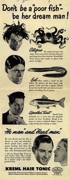 Another wacky Kreml ad compares hair to fish.
