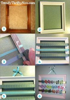 DIY Framed Hair Clip Holder