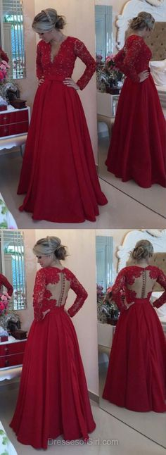 V Neck Prom Dresses, Red Prom Dress, Long Sleeve Evening Gowns, Lace Party Dresses, Satin Formal Dresses