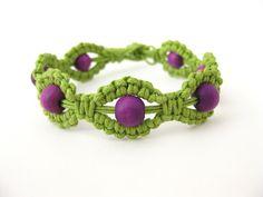 PATTERN Green and Purple Macrame Knotted Bracelet by Knotonlyknots