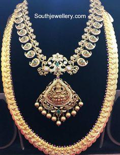 Mango Mala and Kasu Haram - Indian Jewellery Designs Bridal Jewelry Sets, Wedding Jewelry, Bridal Jewellery, Bridal Necklace, Fashion Jewellery, Women's Fashion, Gold Jewellery Design, Gold Jewelry, Gold Necklaces