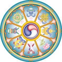 Tashi Dhargye, The Eight Auspicious Signs - Combined Form Tibetan Symbols, Buddhist Symbols, Buddhist Teachings, Sacred Symbols, Tibetan Buddhism, Tibetan Mandala, Lotus Sutra, Vajrayana Buddhism, Good Luck Symbols