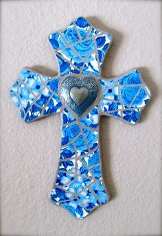 Cross Mosaic   Mosaic Cross Custom order - Blue Cross with Heart heart2heartmosaics@gmail.com #heart2heartmosaic #hearttoheartmosaic #cindyharris