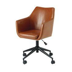 Antique brown coated textile desk chair   Maisons du Monde