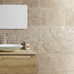 Travertin sol et mur beige effet pierre veritable x cm Bathroom Floor Tiles, Tile Floor, Murs Beiges, Travertine Floors, Elderly Home, Dream Bath, Kitchen Backsplash, Bathroom Inspiration, Bathroom Interior