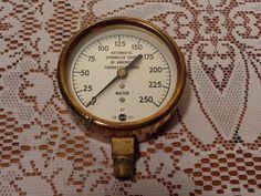Vintage Industrial Brass Pressure Gauge, Automatic Sprinkler Co. - 1967 by BubbiesMemories on Etsy