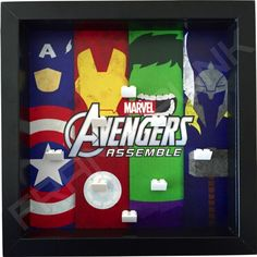 Avengers Assemble Lego minifigures display (black frame)