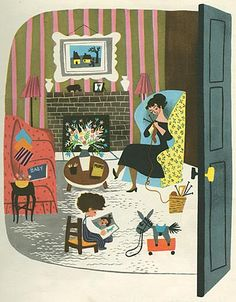 Love this Baby's House illustration by Mary Blair- what a stylish house baby lives in! Mary Blair, Art And Illustration, Illustrations Posters, Vintage Illustrations, Vintage Children's Books, Vintage Art, Vintage Library, Antique Books, Vintage Style