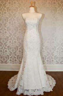 Strapless mermaid lace bridal wedding dress my dress ZE BRIDE Cute Wedding Dress, Colored Wedding Dresses, Bridal Wedding Dresses, Bridal Lace, Perfect Wedding, Dream Wedding, Wedding Day, Lace Wedding, Bride Dresses
