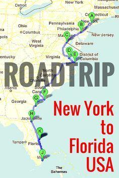 Road Trip Along The East Coast Of USA East Coast Road Trips And - Map of the east coast of the united states