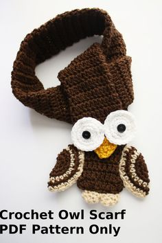 Items similar to Crochet OWL Scarf PDF Pattern Only on Etsy