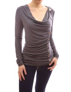 PattyBoutik Cowl Neck Button Embellished Ruched Blouse Top (Grey XS)