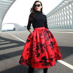 VG049 New Arrival Summer 2016 women tutu skirt floral high waist long midi skirt