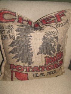 Authentic potato sack Pillow by SheltonPickard on Etsy Western Decor, Country Decor, Rustic Decor, Rustic Patio, Western Style, Country Living, Indian Pillows, Cowboys And Indians, Western Furniture