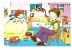 They are in the bedroom what are they doing? they are reading a book Oral Motor Activities, Educational Activities, Preschool Activities, Speech Language Therapy, Speech And Language, Sequencing Pictures, Spanish Lesson Plans, Picture Composition, Aphasia