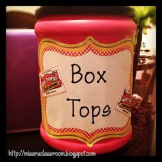 Box Tops Can from a Coffee Tin -- Mainly this is a reminder for me to make a Box Top container for the class...