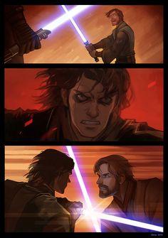 Okha - Star Wars Siths - Ideas of Star Wars Siths - Darth Vader duels Obi-Wan Kenobi Anakin Vs Obi Wan, Anakin Vader, Darth Vader, Anakin Skywalker, Star Wars Clone Wars, Star Wars Saga, Star Trek, Star Wars Fan Art, Star Wars Pictures