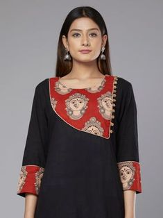 Black Red Kalamkari Devi Printed Cotton Kurta Churidar Neck Designs, Kurta Neck Design, Kurta Designs Women, Salwar Designs, Salwar Pattern, Kurta Patterns, Dress Patterns, Dress Neck Designs, Blouse Designs