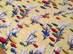 vintage barkcloth fish fabric Vintage Textiles, Surface Pattern, Fish, Pisces