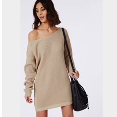 """Ayvan Off Shoulder Knitted Sweater Dress Size: S/M Color: Beige / Cream / Stone Worn: Never Description: • sweater dress / knitted dress • slash neck style • oversized fit • great with tights and over the knee boots Purchased: from Missguided Material: Mixed fibers Item measurements: 30"""" in length   *If not already posted, will model item upon request (or try to find a stock photo if it does not fit). ☑️Fair offers always considered ☑️No trading at this time Missguided Dresses"""