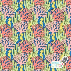 A closer look at a coral and seahorse pattern from Northern Whimsy's Coral Reef collection. Tropical Fish, Surface Pattern, Shibori, Closer, Super Cute, Coral, Invitations, Digital, Paper