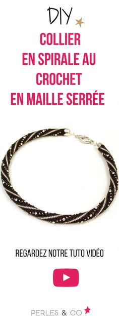 Watch our video tutorial to make a crocheted crochet spiral . Bracelet Crochet, Bead Crochet Rope, Peyote Patterns, Beading Patterns, Beaded Jewelry, Beaded Bracelets, Diy Collier, Bracelet Tutorial, Brick Stitch