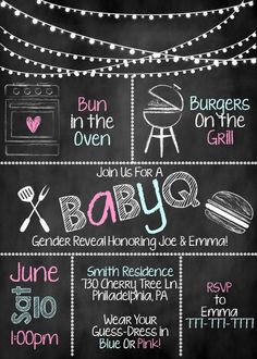 Throw the perfect co-ed Gender Reveal Party with these adorable chalkboard style invitations!! Baby Shower, Gender reveal, invitations, co-ed #affiliate #Etsy