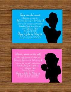 Disney Princess Silhouette Invitation. $10.00, via Etsy. Melissa, advanced planning for my 40th.  You have almost 7 years to order these. Lol.