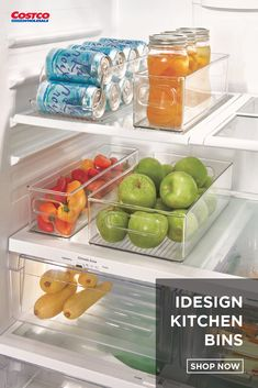 Keep your kitchen organized with this set of four bins. Help utilize lost space in the depths of your refrigerator and pantry shelves, and keep your kitchen mess-free. Shop for more home organization supplies at Costco. Refrigerator Organization, Kitchen Organization Pantry, Home Organization Hacks, Kitchen Pantry, Kitchen Storage, Kitchen Bins, Kitchen Containers, Organized Pantry, Bathroom Organization