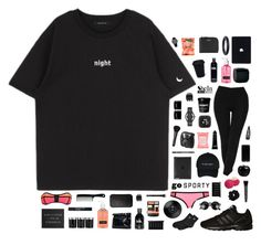 """In the Night / #gosporty (2)"" by blood-drops ❤ liked on Polyvore featuring Formula 10.0.6, Eos, adidas Originals, NARS Cosmetics, Bobbi Brown Cosmetics, Larsson & Jennings, Korres, Neutrogena, Marc by Marc Jacobs and Witchery"