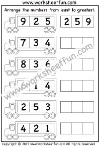 Least to Greatest – 3 Worksheets / FREE Printable Worksheets Number Worksheets Kindergarten, Summer Worksheets, Numbers Preschool, 1st Grade Worksheets, School Worksheets, Free Printable Worksheets, Kindergarten Math, Printables, Activity Sheets For Kids
