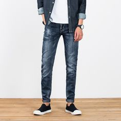 >> Click to Buy << Men Jeans 2017 Fashion Blue Denim Stripe Jeans Mens Pants New Brand Biker Jeans Male Street Ripped Jeans #Affiliate