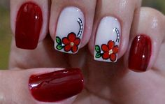 Resultado de imagen de unhas francesinha decoradas de oncinhas 2016 passo a passo Beautiful Nail Designs, Cute Nail Designs, Mani Pedi, Manicure And Pedicure, Pedicures, Red Nails, Hair And Nails, Spring Nail Art, Flower Nails