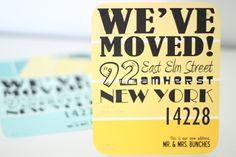 Love this idea! Paint Chip Moving Announcement