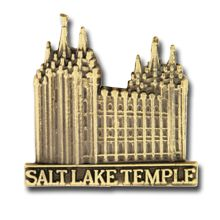 Salt Lake City Temple Pin in Gold - $4.95  Announcement:  28 July 1847  Site Dedication:  14 February 1853 by Heber C. Kimball  Groundbreaking:  14 February 1853 by Brigham Young  Public Open House:  5 April 1893  Dedication:  6–24 April 1893 by Wilford Woodruff