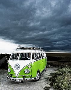 Green VW camper van  Oh LOVE to have this baby and travel across New Zealand. Eat, breath and sleep in it, park up by the ocean and listen to the waves crashing against the shoreline.  Bliss!