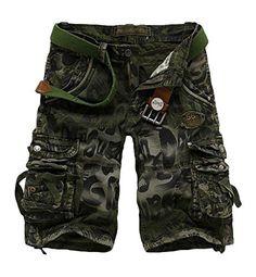 METERDE Men's Camo Army Summer Casual Sports Pocket Cargo Shorts Green 34