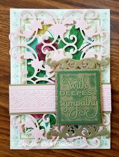 Sympathy card that I made from Anna Griffin Pretty Patterns A7 card and A2 card front, pink and metallic gold cardstock, AG Flower Bramble and Fretworks 2 cut and emboss dies, AG Mix and Match insert, AG Chalkboard Green ink, Oxford embossing folder, AG Poinsettia Blooms embossing folder #AnnaGriffin #Cuttlebug #SympathyCard #Handmade
