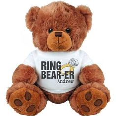 Custom Ring Bearer Teddy | Get the littlest ones in your bridal party a super cute and cuddly stuffed animal. Customize the tee to say anything you want.