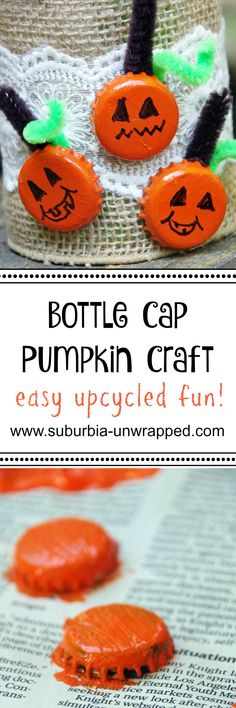 This easy bottle cap pumpkin craft is simple and cheap to make!  An upcycled craft idea perfect for Halloween!